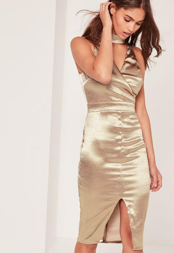 Satin High Neck Cut Out Midi Dress Gold