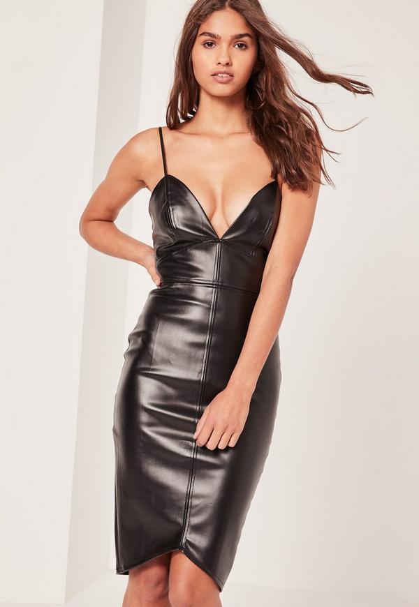Strappy Faux Leather Midi Dress Black