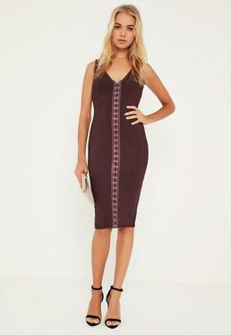 Premium Purple Bandage Eyelet Detail Midi Dress
