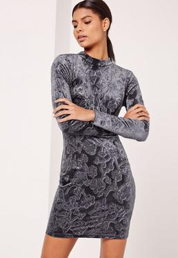Velvet High Neck Open Back Paisley Print Dress Grey