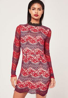 Lace Long Sleeve Open Back Bodycon Dress Burgundy