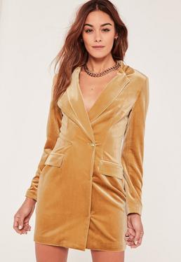 Gold Velvet Blazer Dress
