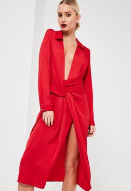 Red Silky Wrap Over Midi Dress