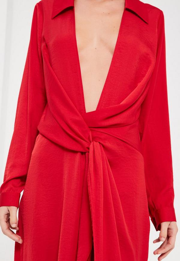 Red Silky Wrap Over Midi Dress Missguided
