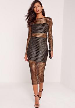 Long Sleeve Fishnet Midi Dress Gold