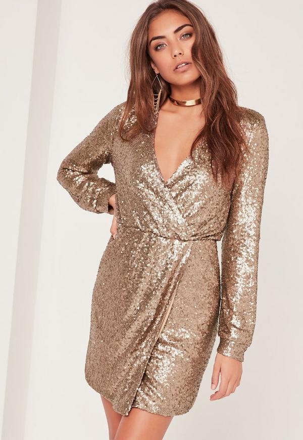 Long Sleeve Sequin Wrap Dress Gold