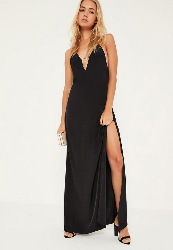 Black Silky Strappy Maxi Dress