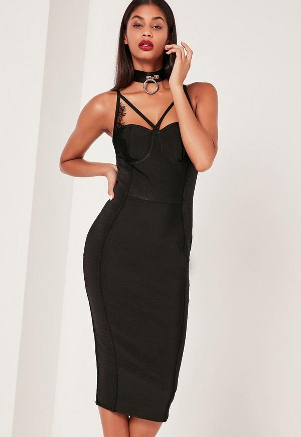 Premium Bandage Lace Trim Bust Cup Midi Dress Black