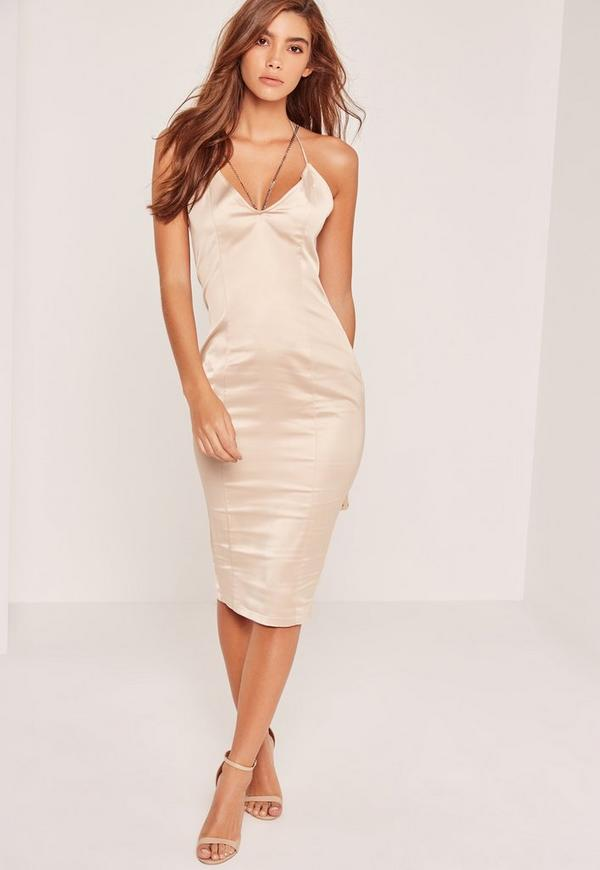 Nude Silky Chain Strap Detail Midi Dress