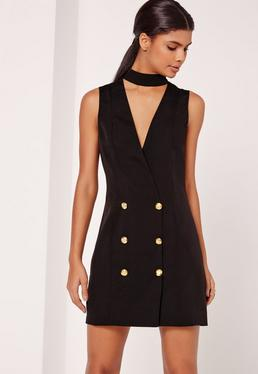 Sleeveless Choker Neck Blazer Dress Black