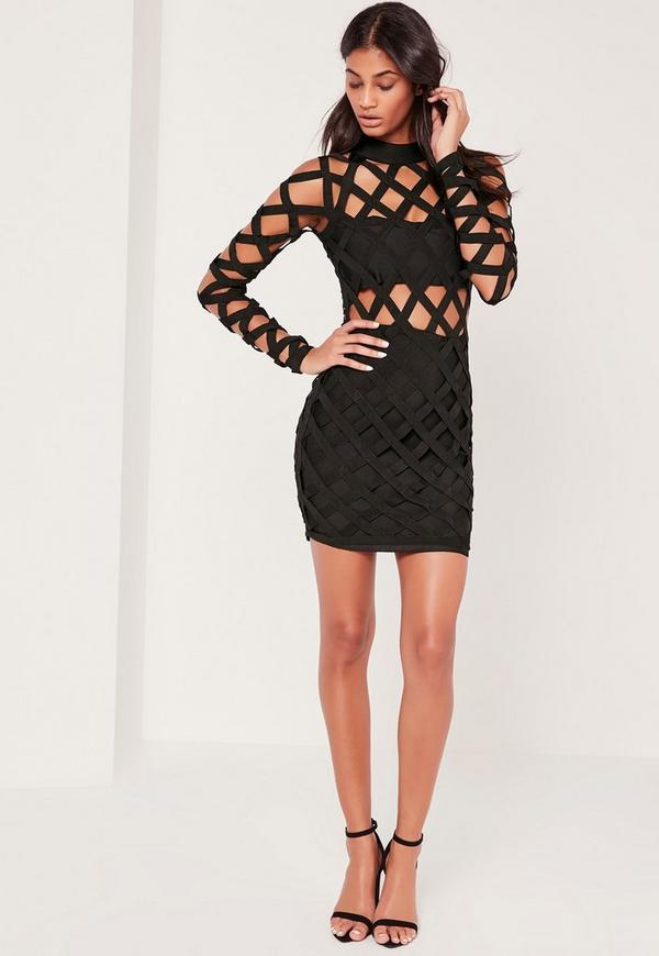Premium Bandage Lattice Bodycon Dress Black