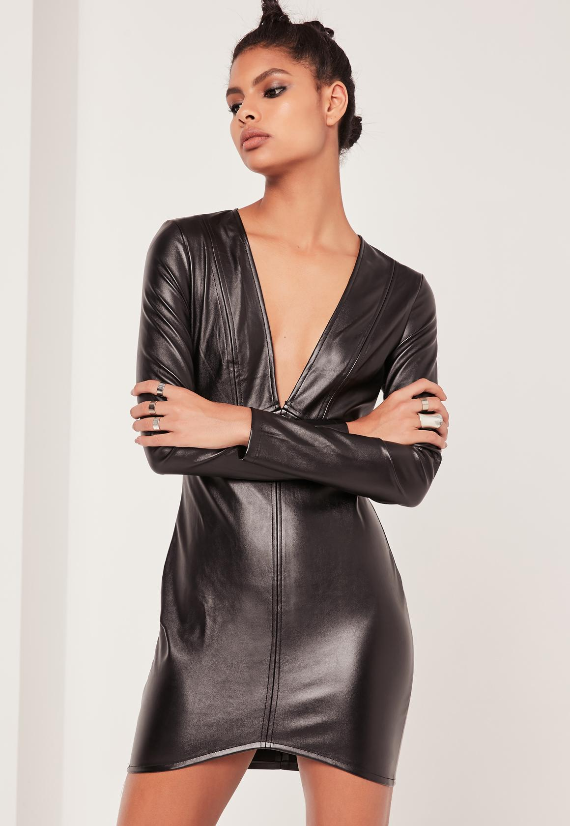Faux Leather Long Sleeve Plunge Bodycon Dress Black