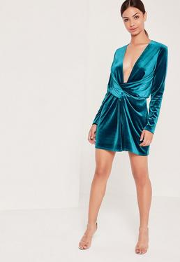 Velvet Wrap Dress Blue