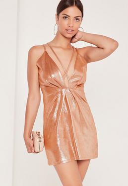 Strappy Foiled Faux Suede Bodycon Dress Nude