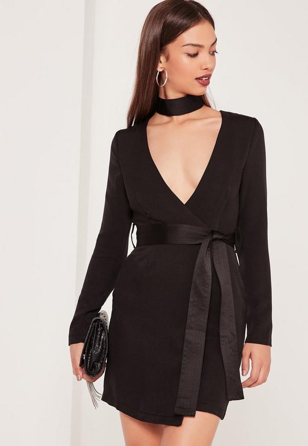 Choker Neck Tie Waist Wrap Dress Black