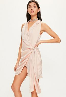 Nude Silky Plunge Blazer Dress