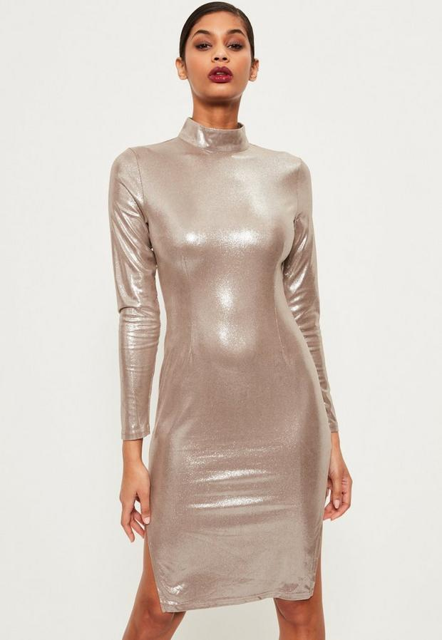 Product photo of Silver high neck foiled suede midi dress grey