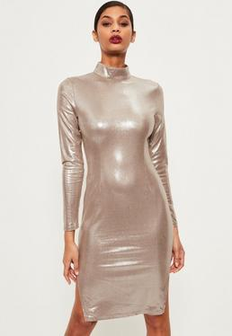 Silver High Neck Foiled Suede Midi Dress
