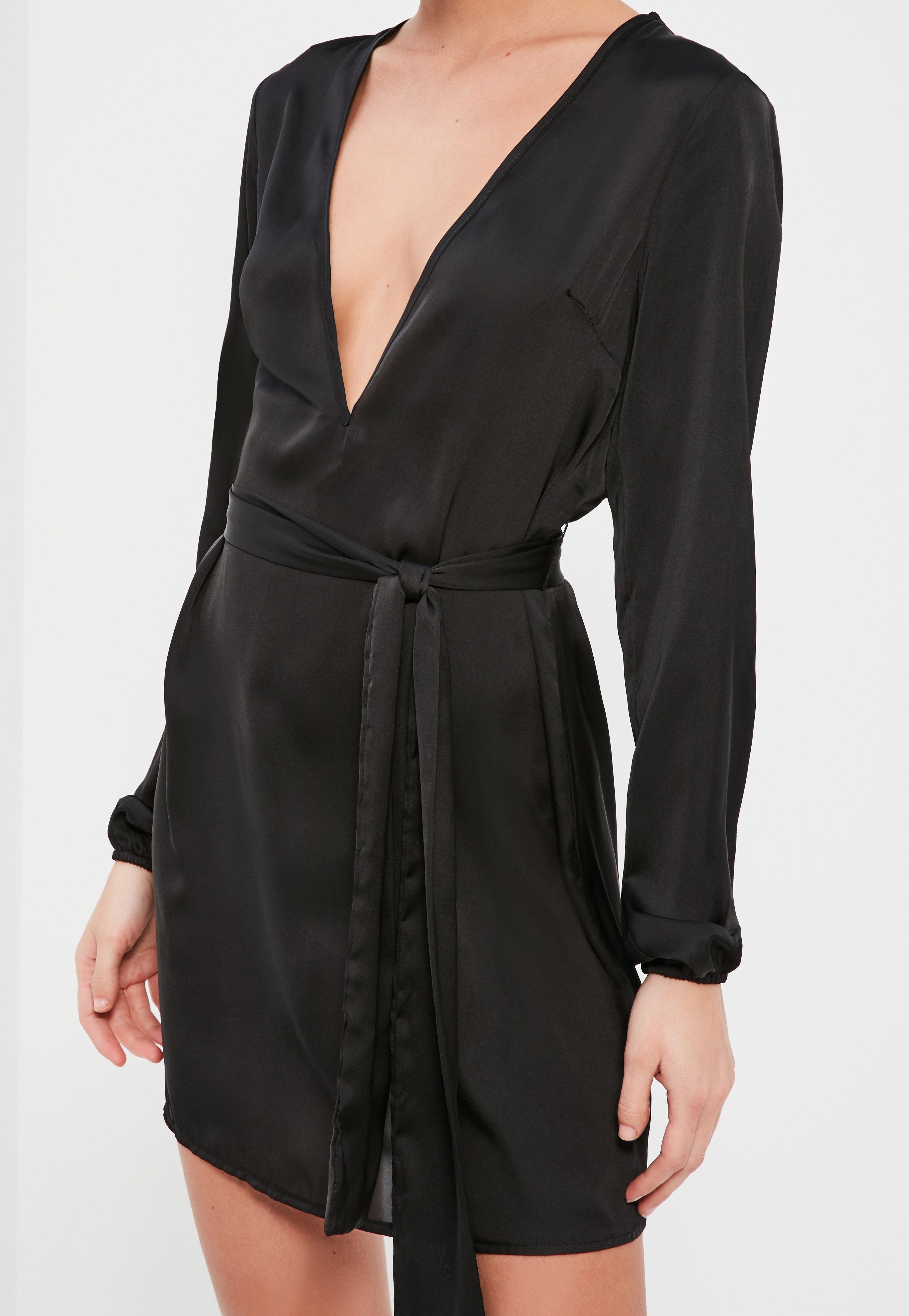 Black Silky Choker Neck Swing Dress