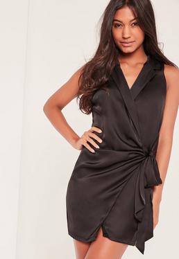 Czarna jedwabna sukienka kopertowa z głębokim dekoltem