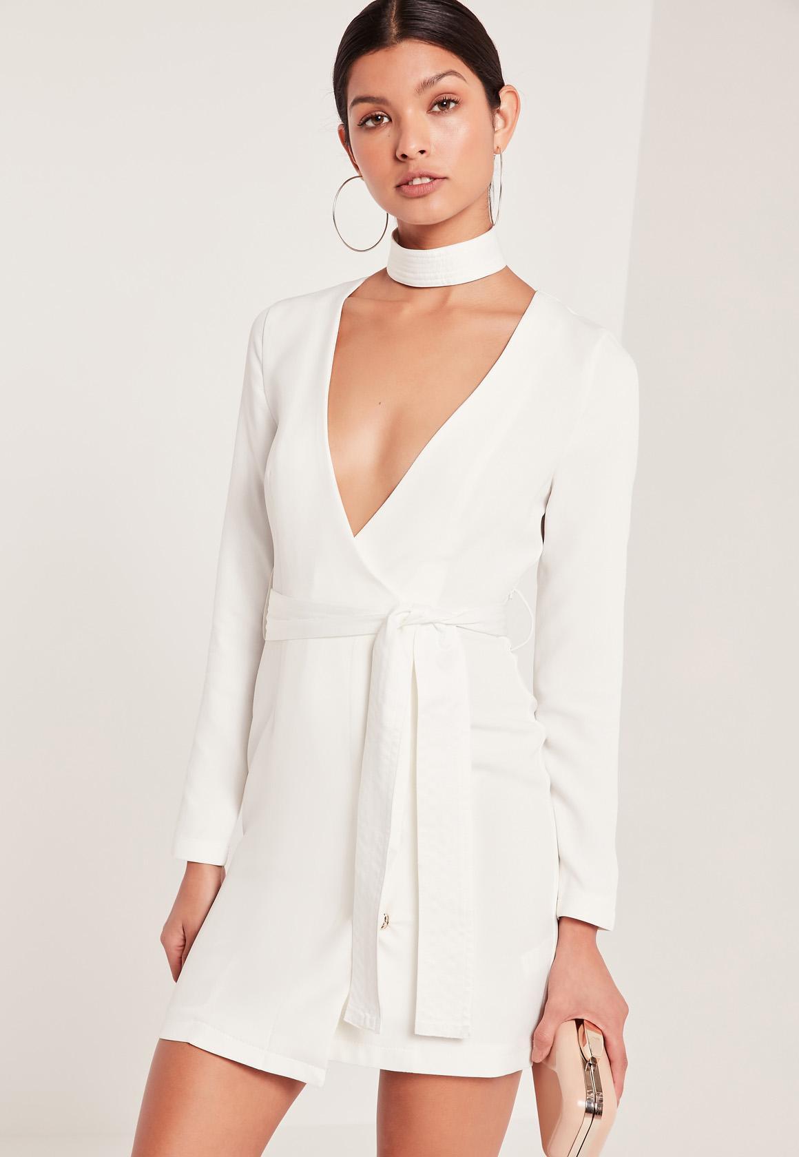 Choker Neck Tie Waist Wrap Dress White