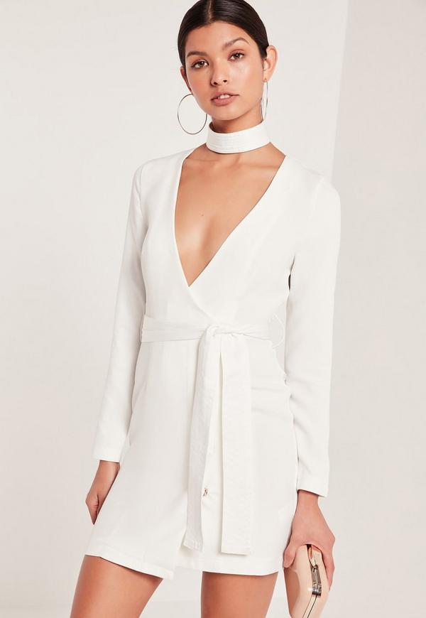 Choker Neck Tie Waist Wrap Dress White
