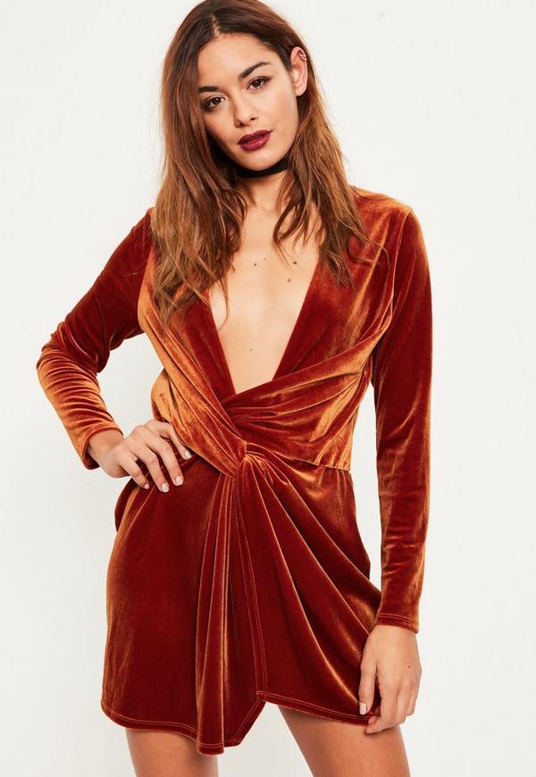 Orange Velvet Wrap dress - Missguided