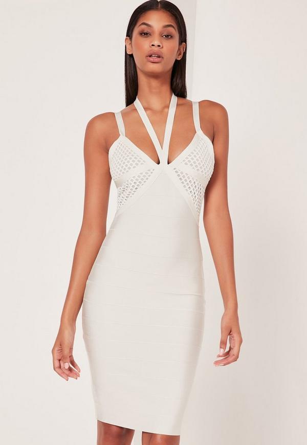 Premium Bandage Fishnet Harness Midi Dress White