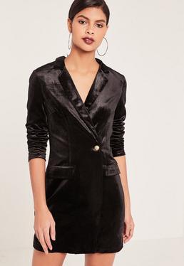 Czarna welurowa sukienka marynarka