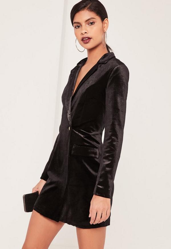 robe blazer noire en velours missguided. Black Bedroom Furniture Sets. Home Design Ideas