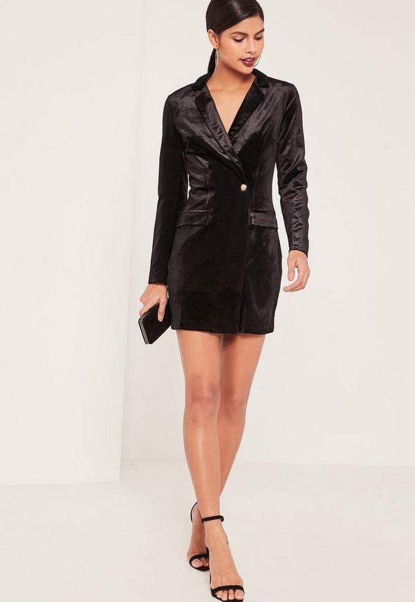 Black velvet blazer dress missguided for Blazer with dress for wedding