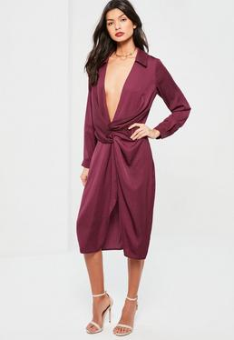Purple Silky Wrap Over Midi Dress