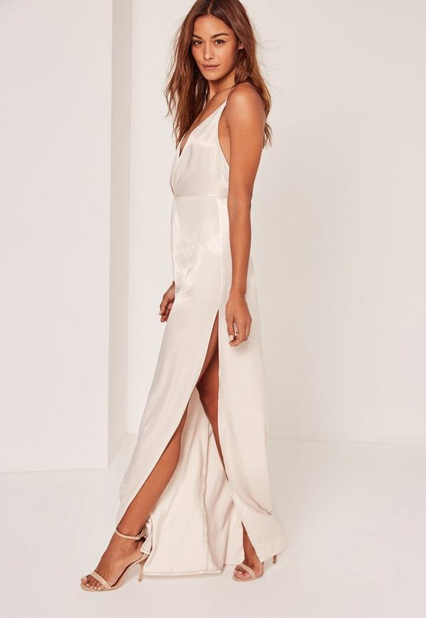 Silky Strappy Maxi Dress Cream