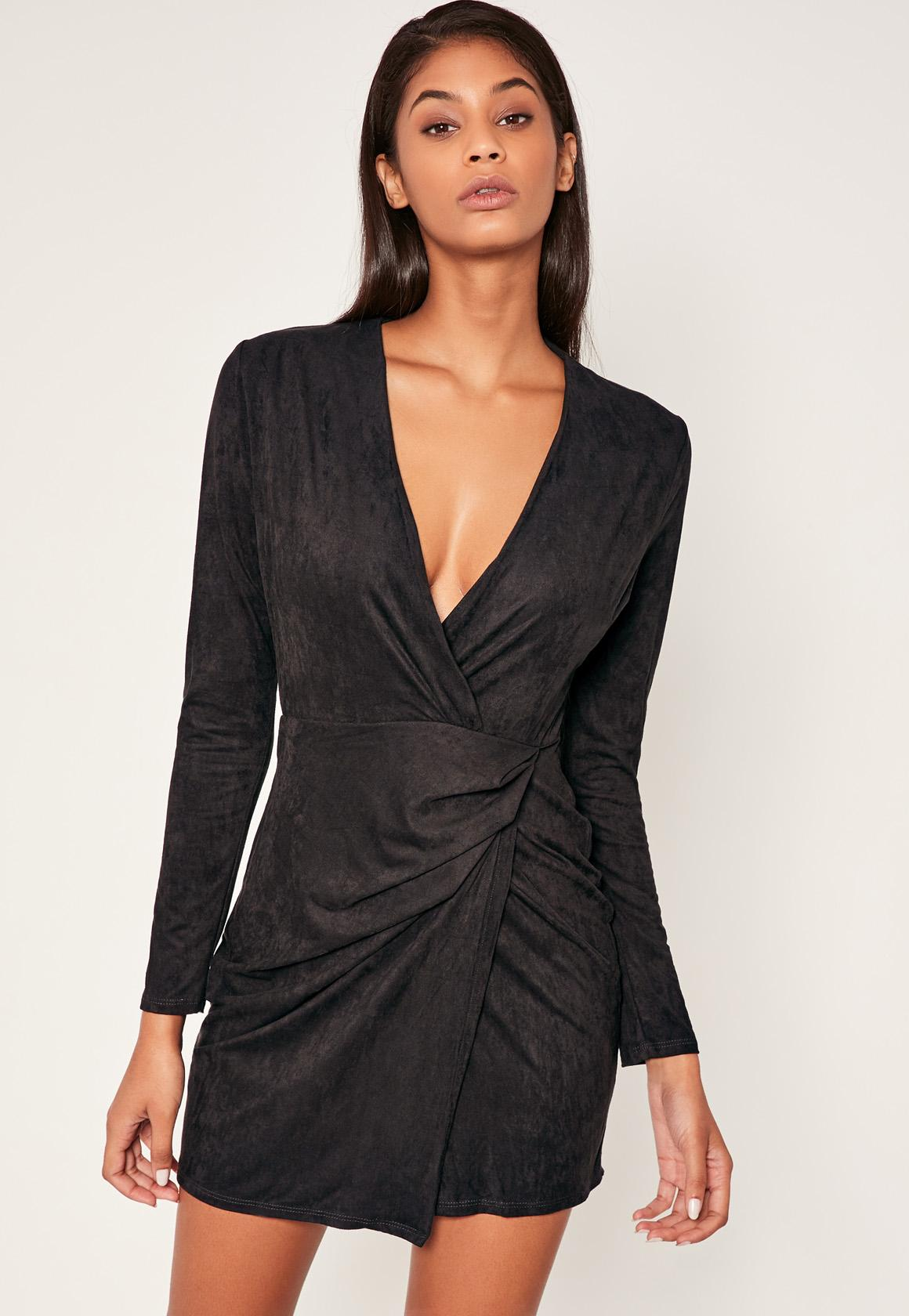 Black Faux Suede Wrap Over Bodycon Dress