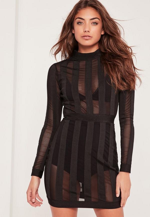 Premium Bandage High Neck Mesh Stripe Bodycon Dress Black
