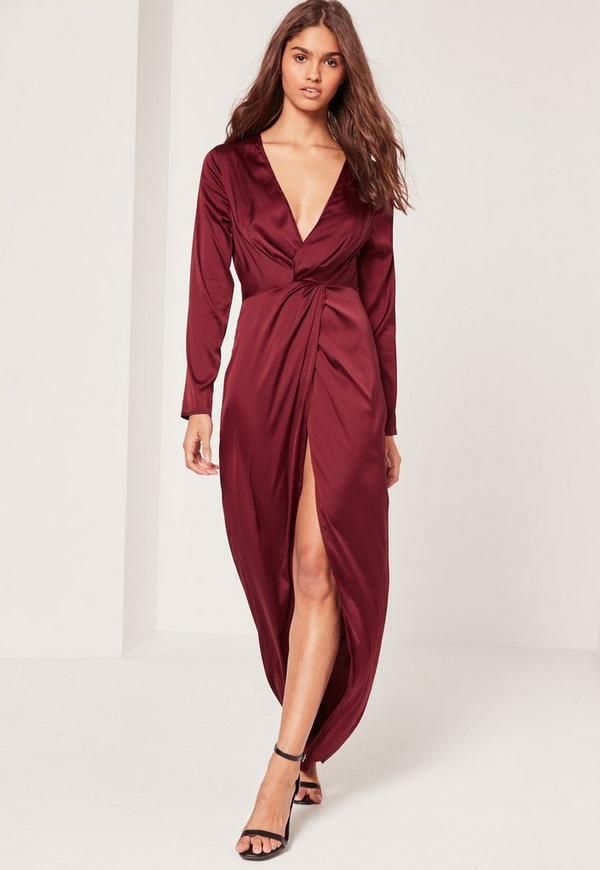 Satin Plunge Maxi Dress Burgundy