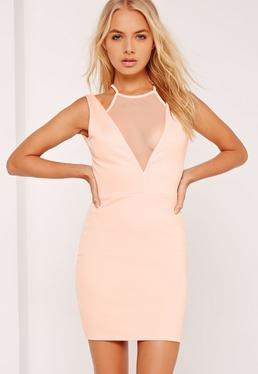 Mesh Insert Plunge Bodycon Dress Nude