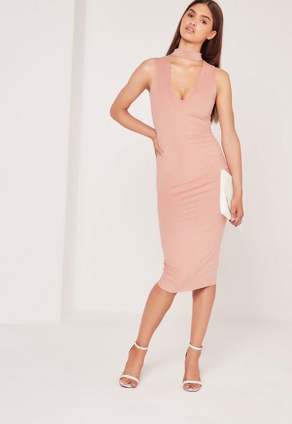 Choker Neck Faux Suede Midi Dress Pink