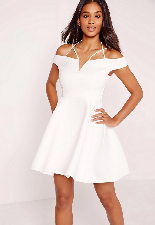 Strappy Bardot Skater Dress White