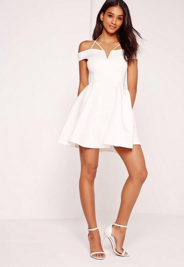 Strappy Bardot Skater Dress White Missguided