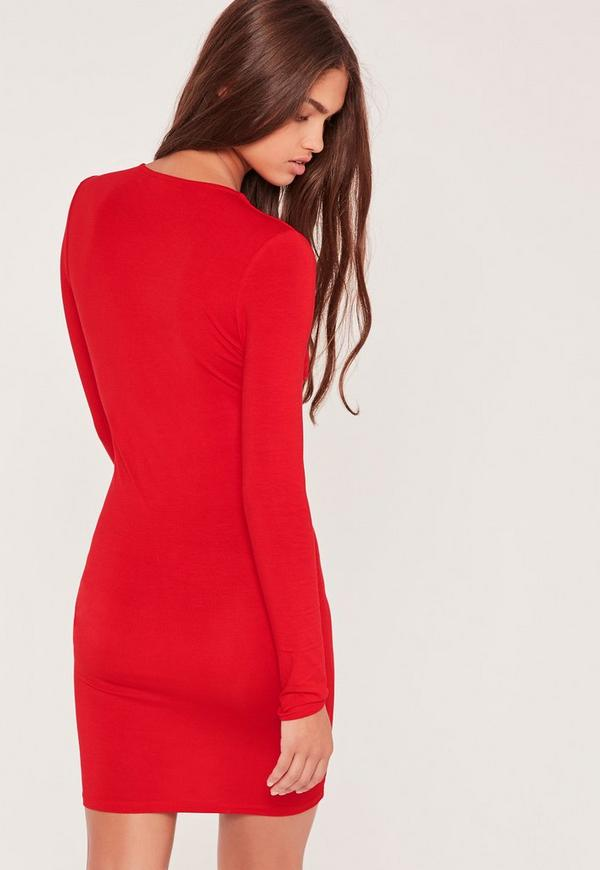 robe rouge moulante manches longues detail lanieres With robe rouge manche longue