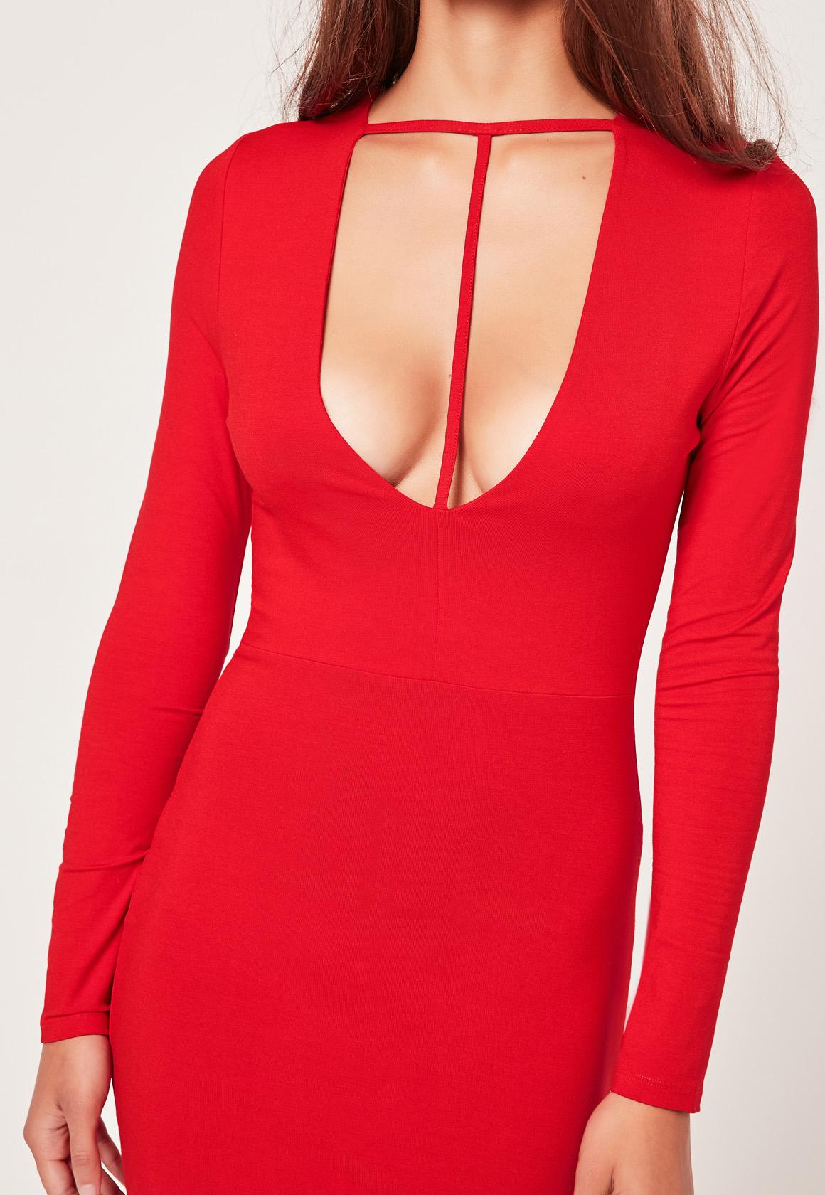 T Harness Front Long Sleeve Bodycon Dress Red