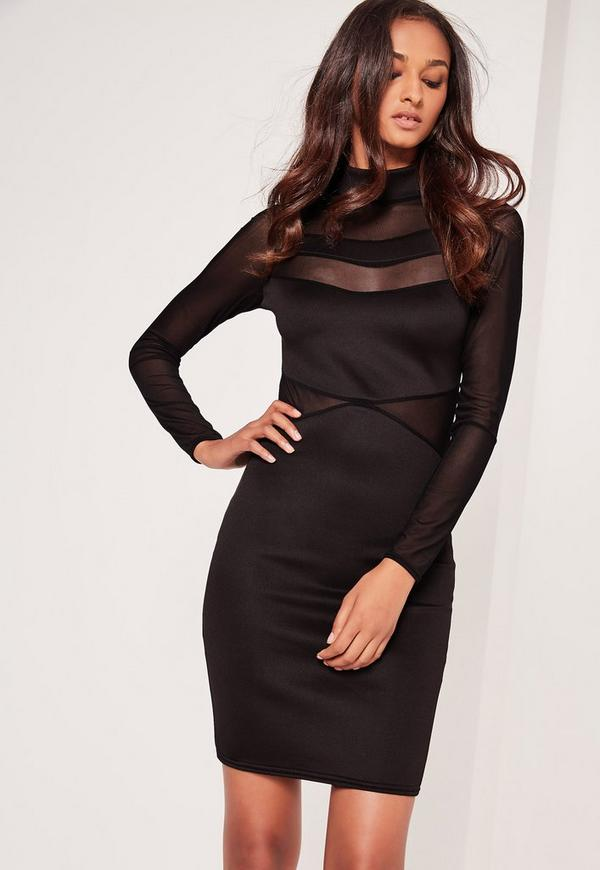 Long Sleeve Mesh Insert Dress Black