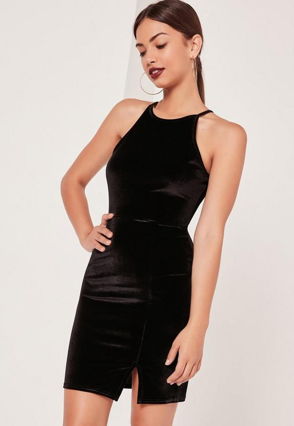 90's Neck Split Hem Velvet Bodycon Dress Black
