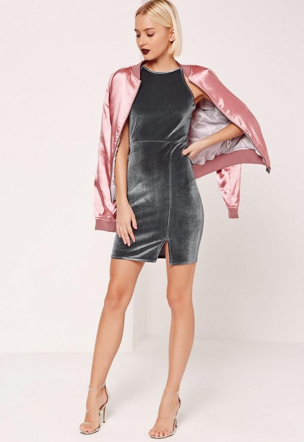 90's Neck Split Hem Velvet Bodycon Dress Grey
