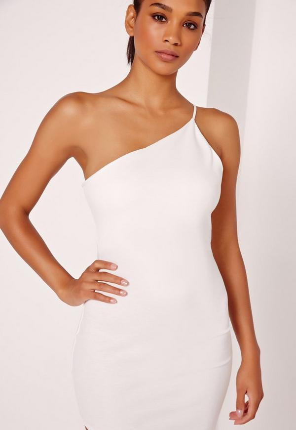 Asymmetric One Shoulder Bodycon Dress White - Missguided