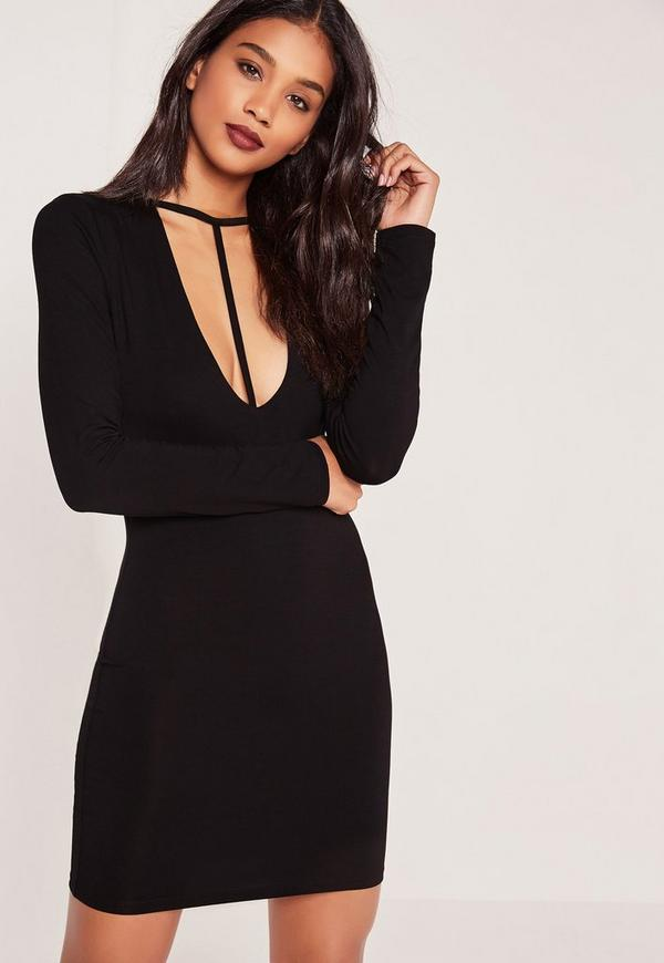 T Harness Front Long Sleeve Bodycon Dress Black