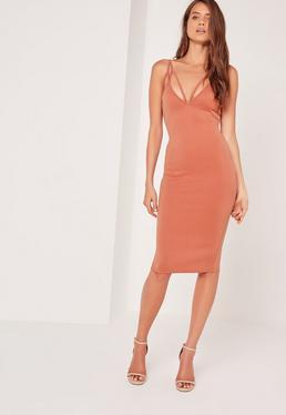 Harness Strappy Scuba Midi Dress Peach