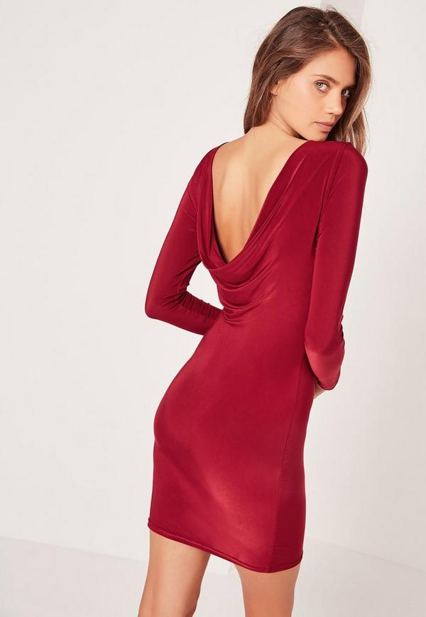 Cowl Back Slinky Bodycon Dress Burgundy