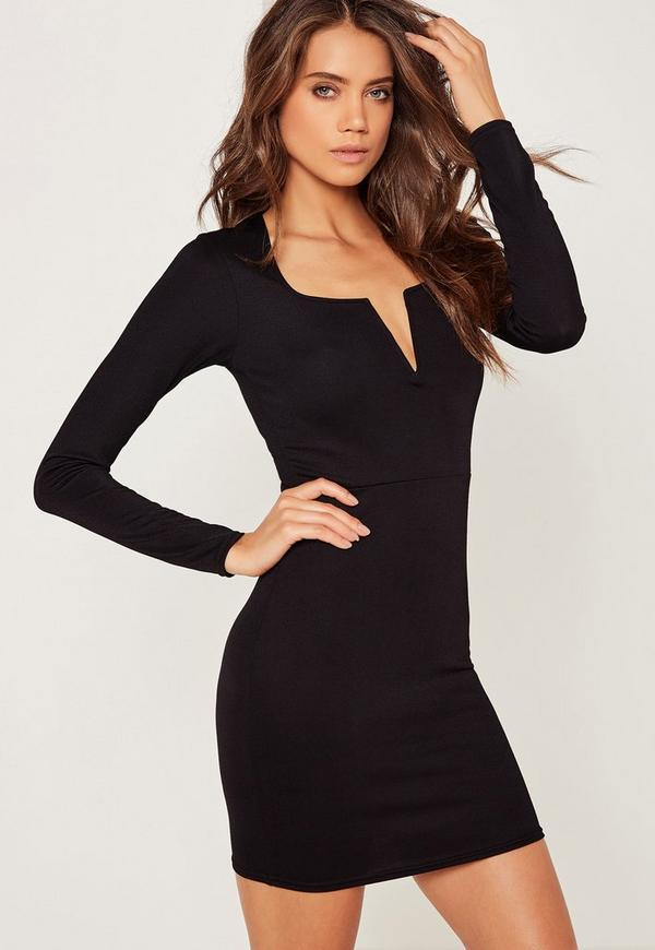 V Bar Plunge Long Sleeve Bodycon Dress Black